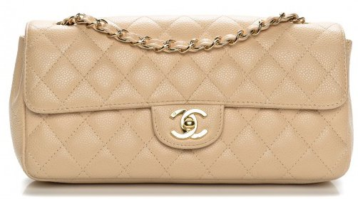 Chanel east west bag white beige