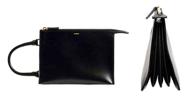 Jil Sander Nizan Brushed Leather Clutch