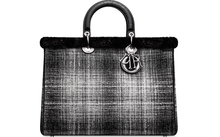 Diorissimo-Bag-Large-Grey-Silver-and-black-tweed-and-black-mink-1