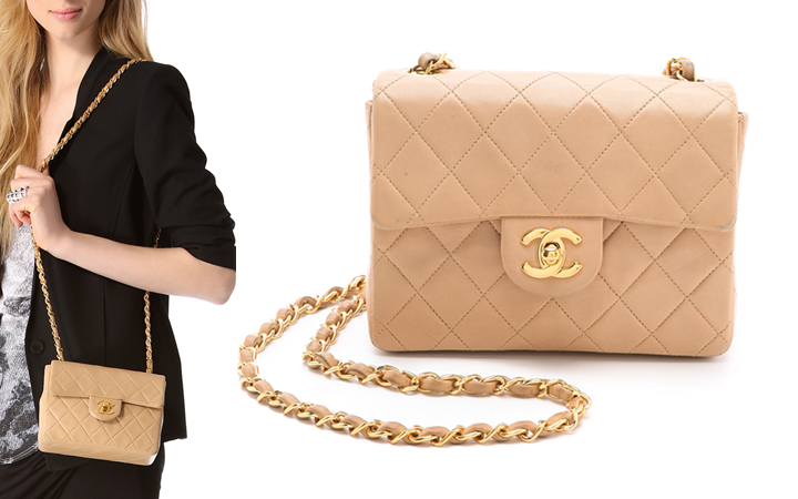 6a77b7bc2f20 Chanel Mini Classic Flap Bag Vintage  Beige