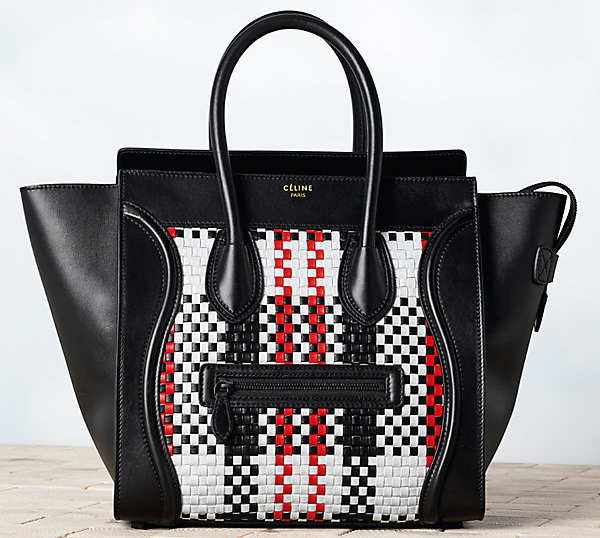 Celine-Luggage-in-Check-Woven-Calfskin-Black-1