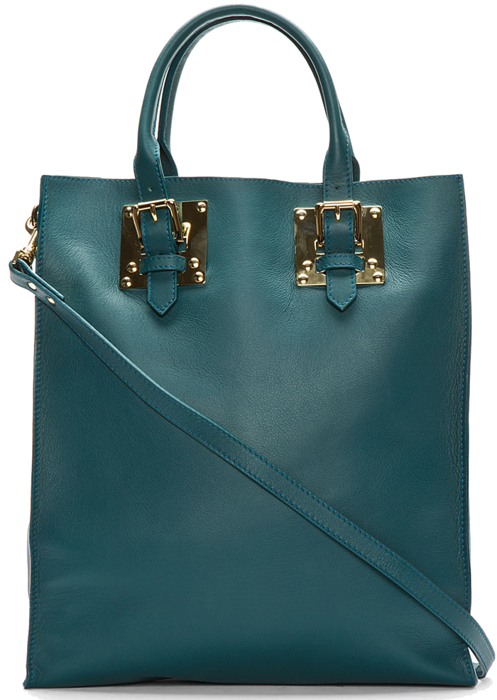 Sophie-Hulme-Teal-Soft-Leather-Buckled-Tote-dark-green-1