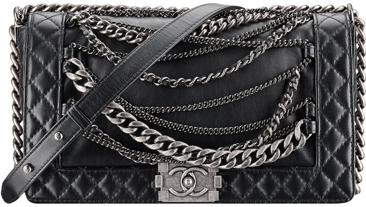 Calfskin Boy Chanel Flap Bag With Chain Details