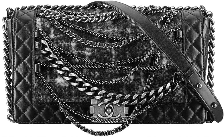 Calfskin Boy Chanel Flap With Tweed And Chain Details