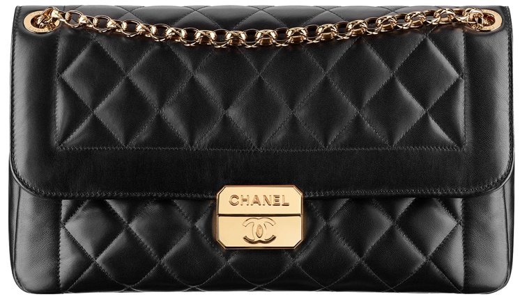 Chanel-lambskin-flap-bag-with-retro-Chanel-clasp-in-black