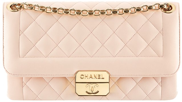 Chanel-lambskin-flap-bag-with-retro-Chanel-clasp-in-pink