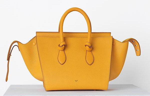 designer handbag collection o2gc  Celine-Tie-handbag-in-Crisped-Calfskin-Saffron