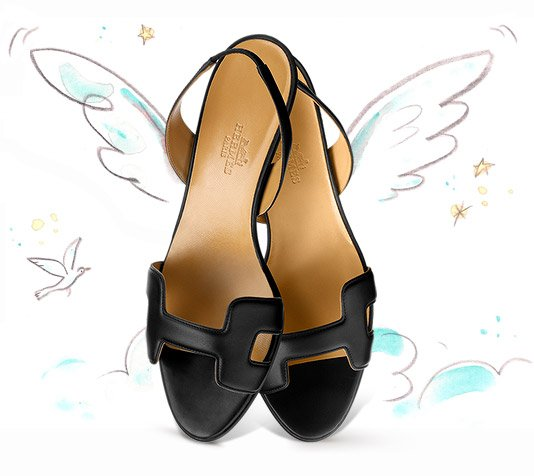 Hermes-Ottomane-Sandal-In-Black-Calfskin