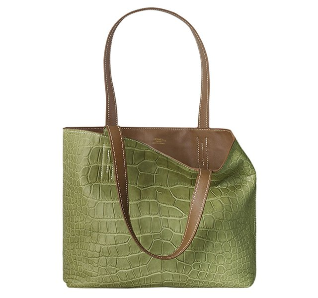 Hermes Double Sens Tote in Croco Chiffon