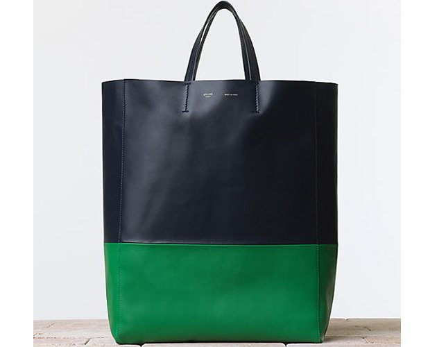 Celine-BI-Cabas-Handbag-Smooth-Lambskin-Vertica- Grass-Navy