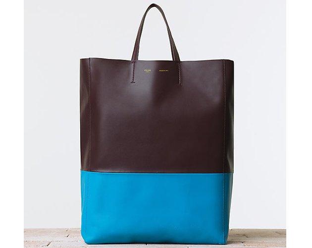 Celine-BI-Cabas-Handbag-Smooth-Lambskin-Vertical-Turquoise-Burgundy