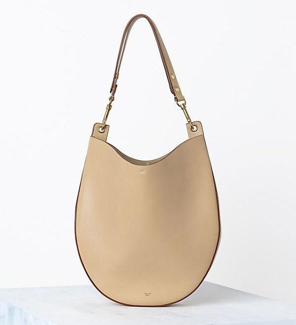 Celine-Hobo-handbag-in-Crisped-Calfskin-Chamois