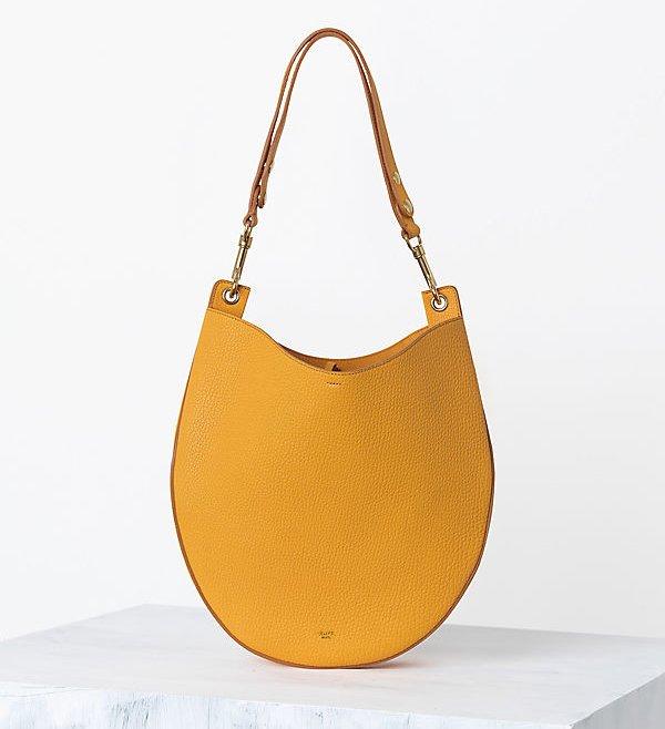 Celine-Hobo-handbag-in-Crisped-Calfskin-Saffron