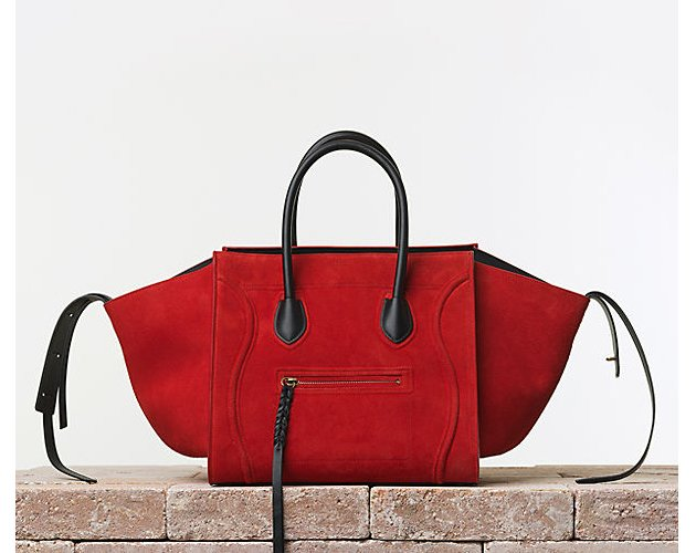 Celine-Luggage-Phantom-Handbag-Suede-Vermilion