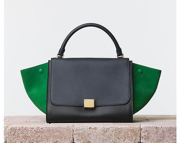 Celine-Trapeze-Handbag-Multicolour-Smooth-Calfskin-Grass