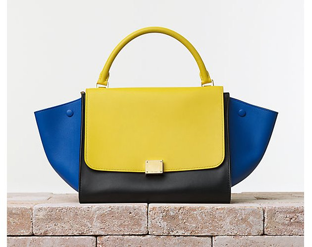 Celine-Trapeze-Handbag-in-Multicolour-Smooth-Calfskin-Sunflower
