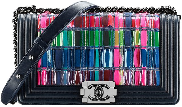 Chanel-Lambskin-Boy-Chanel-Flap-Bag-Woven-with-Multicolored-Tweed-and-PVC