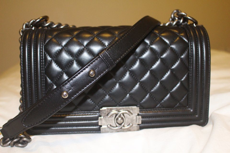 Boy Chanel Quilted Flap Bag in Black