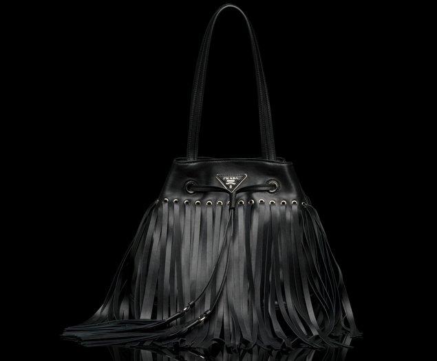 prada black fringe handbag