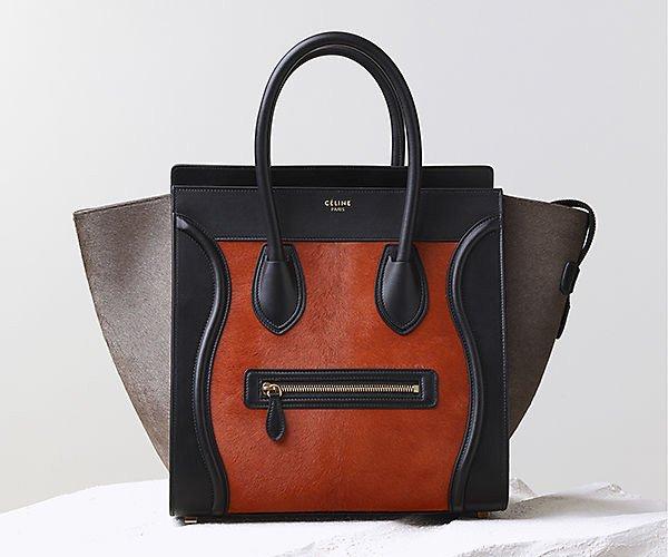 Celine-Luggage-Handbag-Brick-Multicolour-Pony-Calfskin