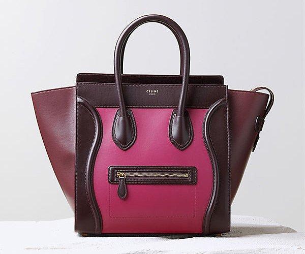 Celine-Luggage-Handbag-Orchid-Multicolour-Satin-Calfskin