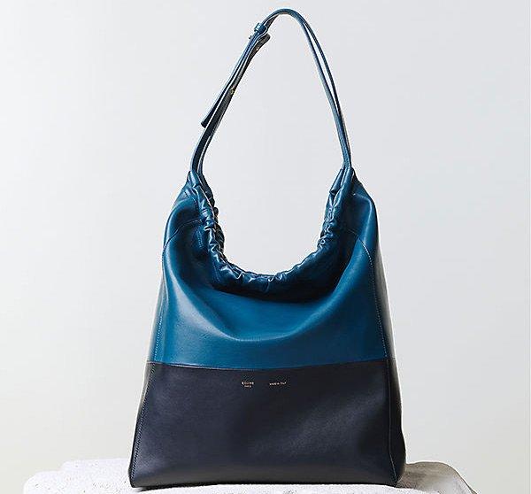Celine-Shoulder-Bi-Cabas-Handbag-Metallic-Blue-Nappa-Calfskin