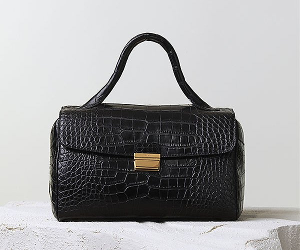 Celine-Top-Handle-Handbag-Black-Crocodile