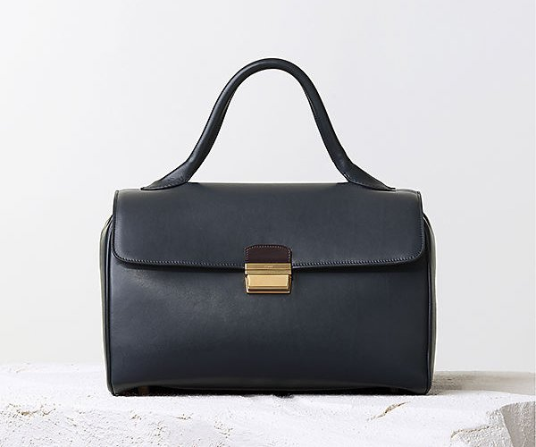 Celine-Top-Handle-Handbag-Navy-Blue