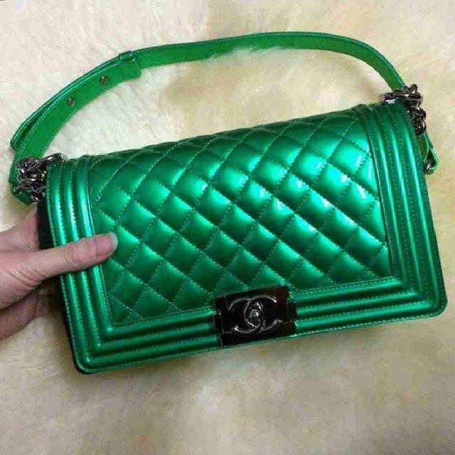 Chanel-Metallic-Boy-Bag-green