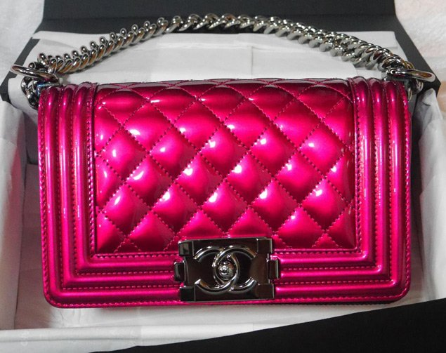 chanel boy quilted flap bag in metallic patent bragmybag