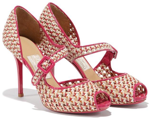 Salvatore-Ferragamo-Open-Toe-Pump-In-Woven-Motif-Pink