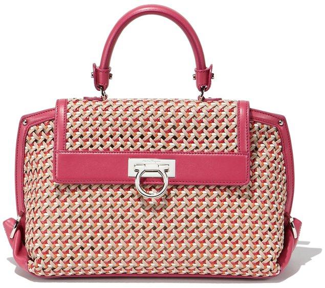 Salvatore-Ferragamo-Sofia-Bag-In-Woven-Motif-Pink