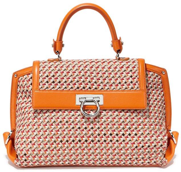 Salvatore-Ferragamo-Sofia-Bag-In-Woven-Motif-orange