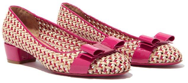 Salvatore-Ferragamo-Vara-Flats-In-Woven-Motif-Pink