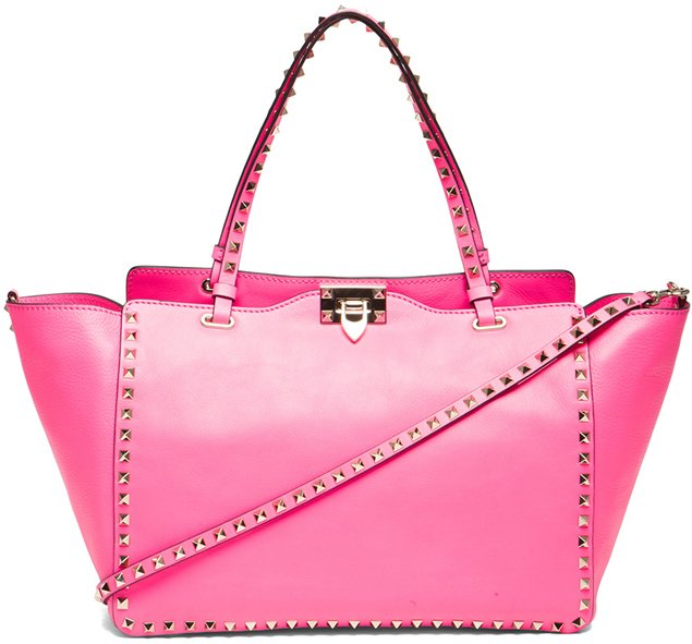 valentino rockstud trapeze tote in fluo pink bragmybag. Black Bedroom Furniture Sets. Home Design Ideas