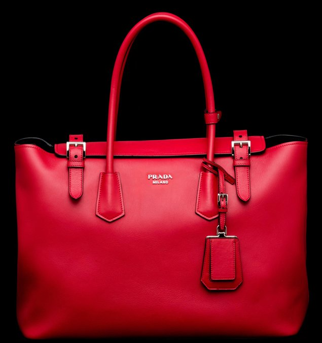 Prada-Buckle-Saffiano-Tote-red