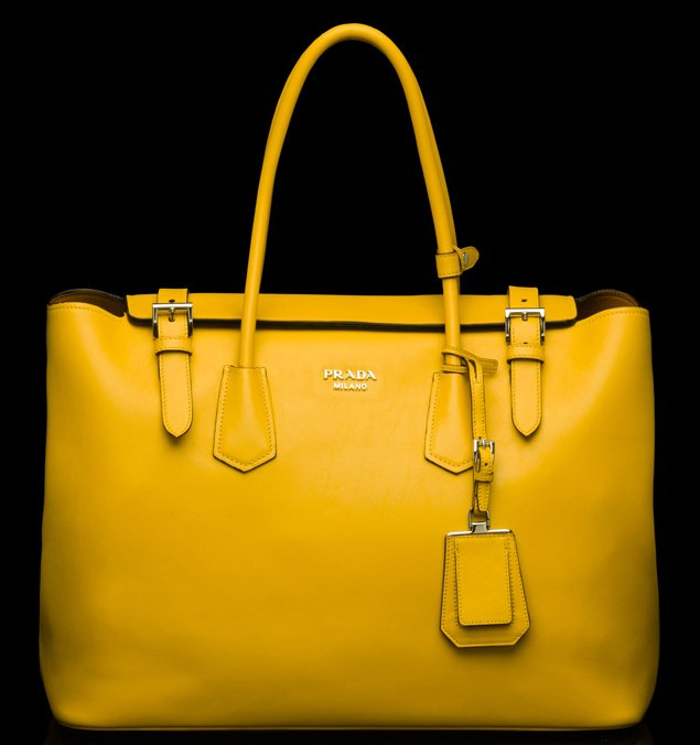 Prada-Buckle-Saffiano-Tote-yellow