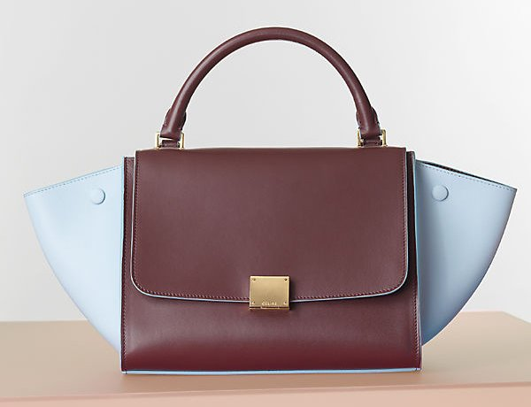 Celine-Baby-Blue-and-Brown-Trapeze-Tote-Bag