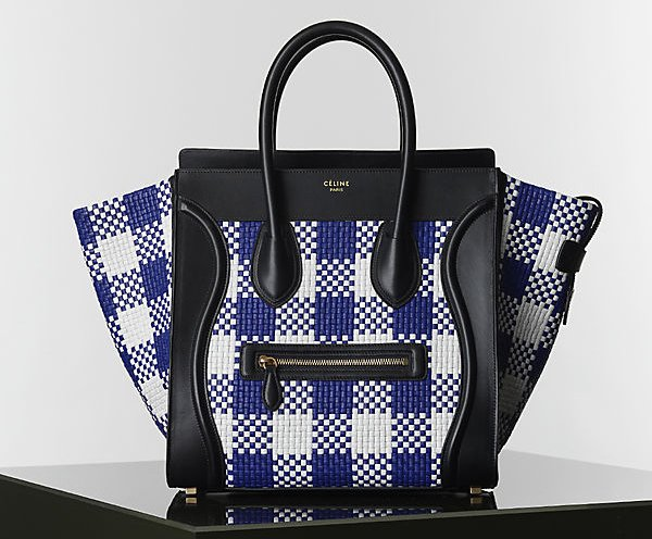 Celine-Blue-and-White-Gingham Mini-luggage-Tote