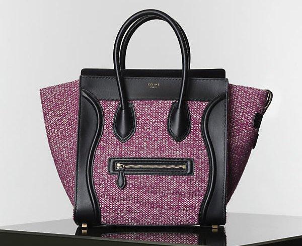 Celine-Purple-Tweed-Mini-Luggage-Bag