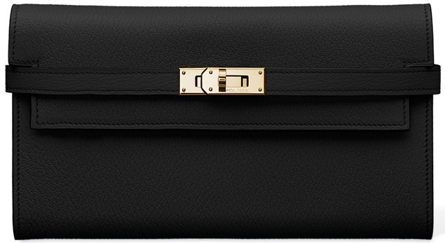 Hermes-Kelly-Long-Wallet-black
