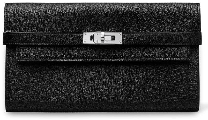 Hermes-Kelly-Wallet-Orange-Black