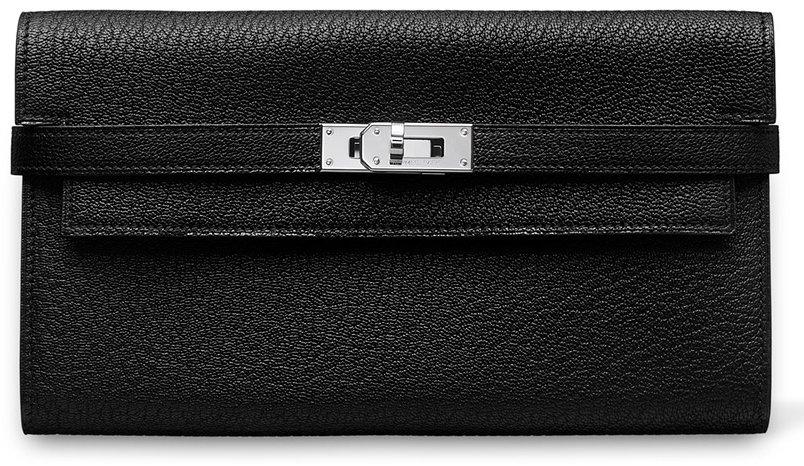 Hermes-Kelly-Wallet-Orange-Black