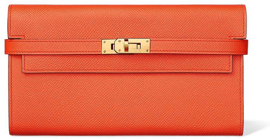Hermes-Kelly-Wallet-Orange