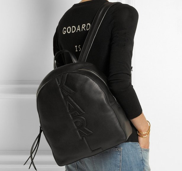 Karl-Lagerfeld-Appliqué-Leather-Backpack