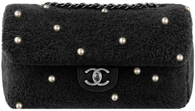 chanel-shearling-flap-bag-in-black-with-pearls