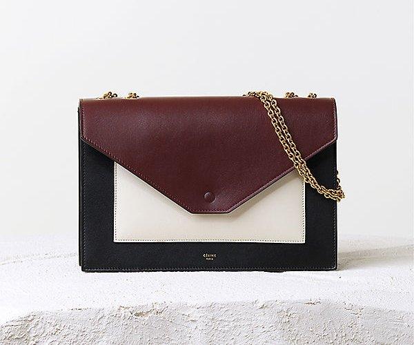 celine navy leather handbag pocket