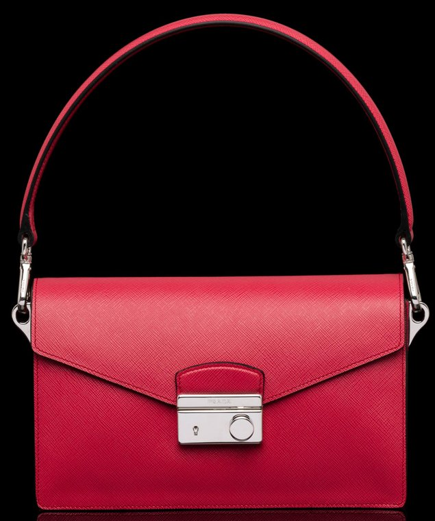 prada red handbags - Prada Saffiano Leather Mini Sound Flap Bag | Bragmybag