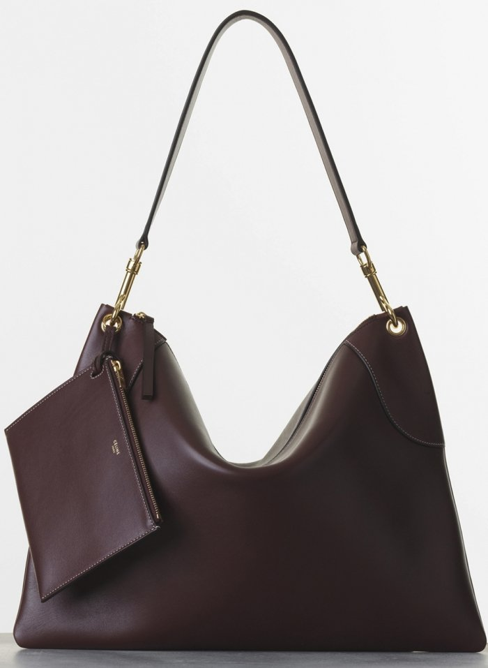 celine flat bag in brown leather