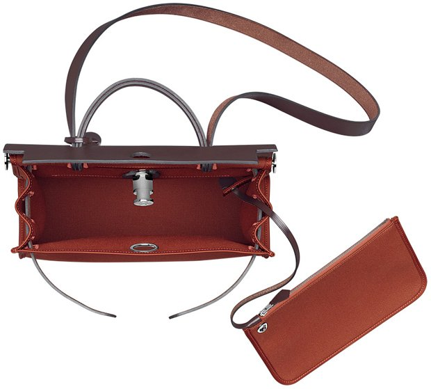 faux ostrich handbag - Hermes Herbag Zip Bag in Chocolate Brown | Bragmybag